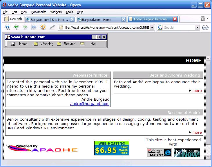 Burgaud.com 2.0 (Java Menu Bar)